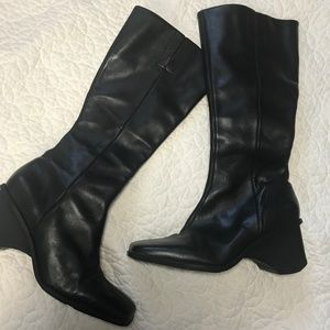 Enzo Angiolini Tall Leather Wedge Boots Size 7.5